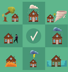 flat house insurance poster vector image