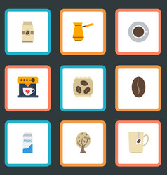 Flat icons arabica bean ibrik timber and other vector