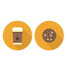 flat set cup of coffee and cookie vector image