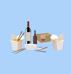 food take away with wine and beer vector image
