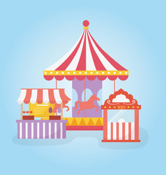 Fun fair carnival carousel ticket booth and food vector