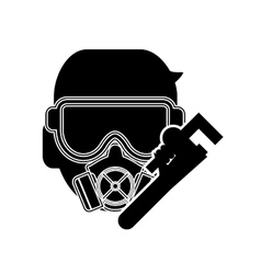 Gas mask and pipe wrench icon vector