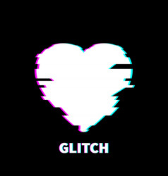 glitch heart icon technology background white vector image