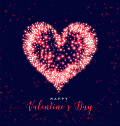 glowing valentines day heart made with sparkles vector image