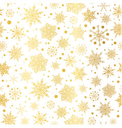 Gold glowing snowflakes seamless repeat vector