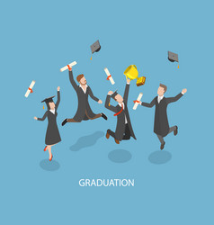 graduation flat isometric concept vector image