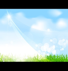 Green field and sky background vector
