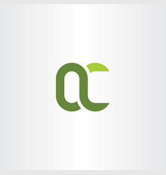 green letter q and c qc logo icon vector image