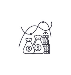 growing money line icon sign vector image