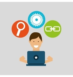 Guy working technology social media concept vector