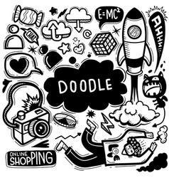 Hand drawn doodle set line tools drawingflat vector