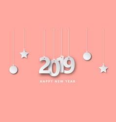 happy new year 2019 creative design paper cut vector image