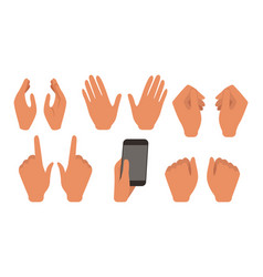 human hands showing different gestures set male vector image