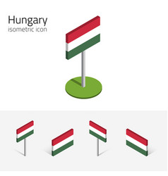 Hungary flag set of 3d isometric icons vector