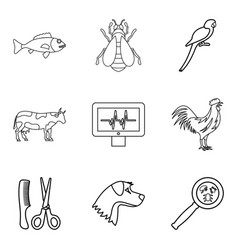 injured animal icons set outline style vector image