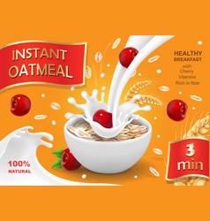 Instant oatmeals with cherry oat flakes vector