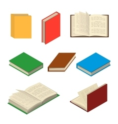 Isometric colorful books set vector
