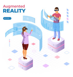 isometric virtual augmented reality vector image