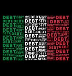 Italy flag mosaic of debt word items vector