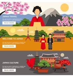 Japanese Culture 3 Horizontal Banners Set vector