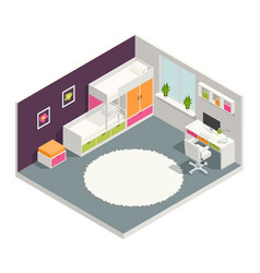 Kids room isometric composition vector