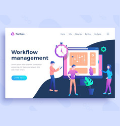Landing page template workflow management concept vector