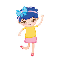 little girl with bow in head blue hair isolated vector image