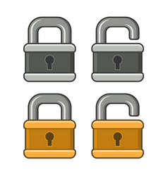 lock icons set on white background vector image