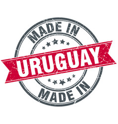 Made in uruguay red round vintage stamp vector