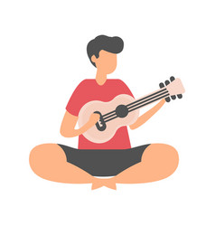 male sitting on floor and playing guitar isolated vector image