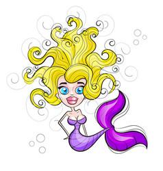 mermaid with flowing hair vector image