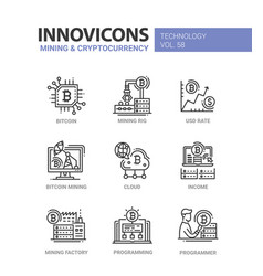 Mining and cryptocurrency - line design icons set vector