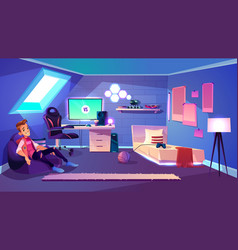 modern teenager boy room interior cartoon vector image