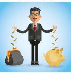 money over blue background design vector image