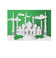 Mosque and the sky vector