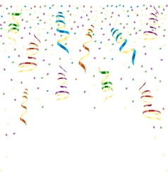 Multicolor curling ribbons with stellar confetti vector image