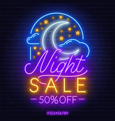 night sale neon sign on a brick wall background vector image