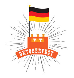 oktoberfest label with beer bottles icon vector image