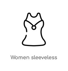 outline women sleeveless shirt icon isolated vector image
