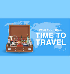 pack your bags time to travel with world landmark vector image