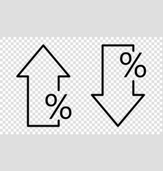 Percent down and up simple line style vector