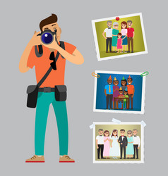 Photographer advertising poster with works samples vector