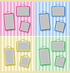 Picture frames on four different wallpapers vector