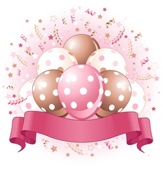 Pink birthday balloons design vector