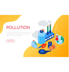 Pollution concept - modern colorful isometric web vector