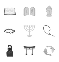 Religion set icons in monochrome style Big vector