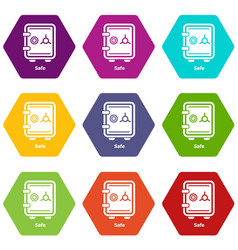 safe icons set 9 vector image