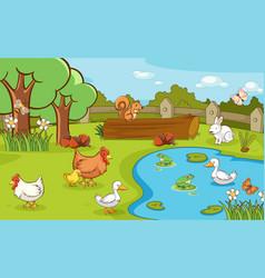 Scene with farm animals on farm vector