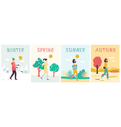 seasons banners set with walking woman in vector image