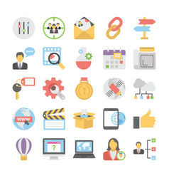 seo and digital marketing colored icons 3 vector image